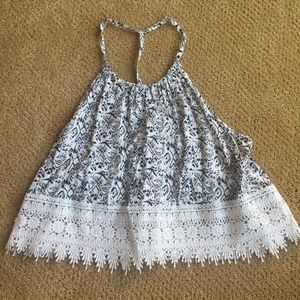 LF Black and White Crochet Halter Top